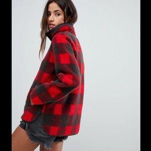 🌲🎁Red Buffalo Plaid Quarter zip fleece pullover